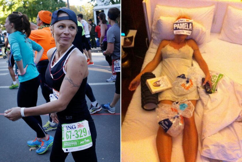 Pamela Anderson during and after the 2013 New York City Marathon on Sunday, Nov. 3, 2013.