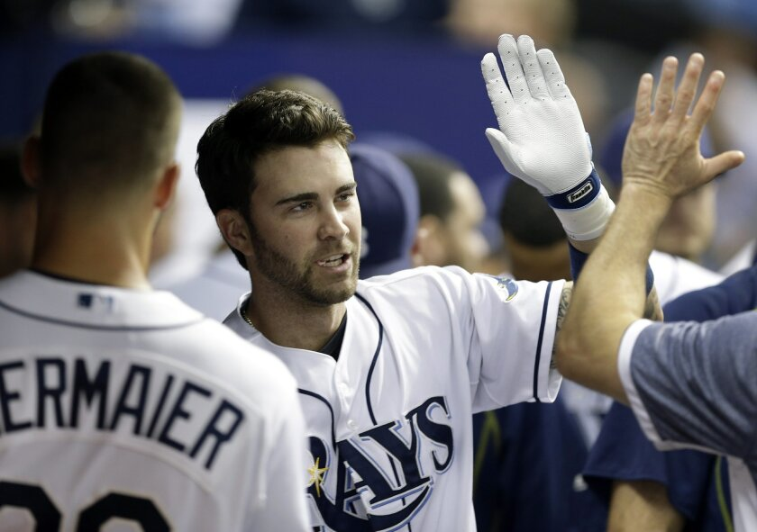Tampa Bay Rays' Nick Franklin celebrates with teammates in the dugout after his home run off Miami Marlins starting pitcher Jarred Cosart during the fifth inning of an interleague baseball game Wednesday, Sept. 30, 2015, in St. Petersburg, Fla. (AP Photo/Chris O'Meara)