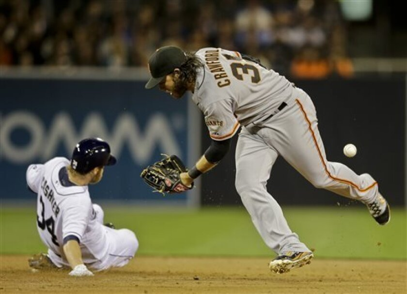 San Diego Padres' Andrew Cashner steals second as San Francisco Giants shortstop Brandon Crawford can't handle the throw in the third inning of baseball game in San Diego, Friday, April 26, 2013. Cashner would score later in the inning.  (AP photo/Lenny Ignelzi)