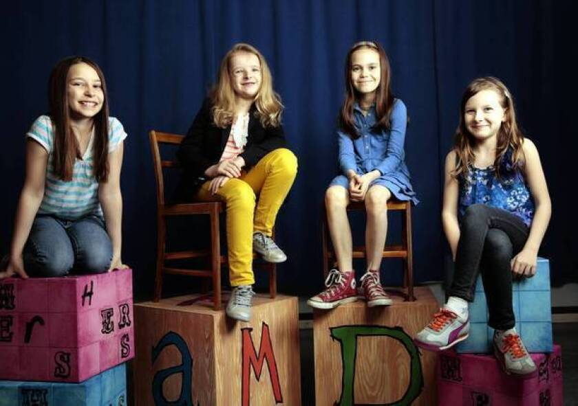 """The four young actresses playing the title role in the Broadway musical """"Matilda"""" are Bailey Ryon, left, Milly Shapiro, Oona Laurence and Sophia Gennusa."""