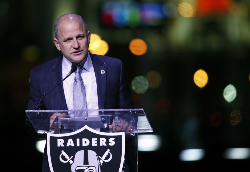 FILE - In this Nov. 13, 2017, file photo, Oakland Raiders President Marc Badain speaks during a ceremonial groundbreaking for the Raiders' stadium in Las Vegas. Raiders team president Badain has resigned just before the start of training camp after helping orchestrate the team's move to Las Vegas. (AP Photo/John Locher, File)