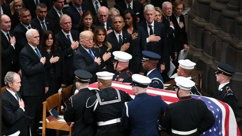 Readers React: Trump was the 'pariah in the room' at George H.W. Bush's funeral