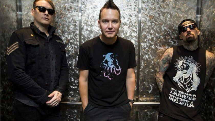 """Poway-bred pop-punk trio blink-182 will headline the second night of radio station 91X-FM's annual """"Wrex the Halls"""" concerts at Valley View Casino Center in December."""