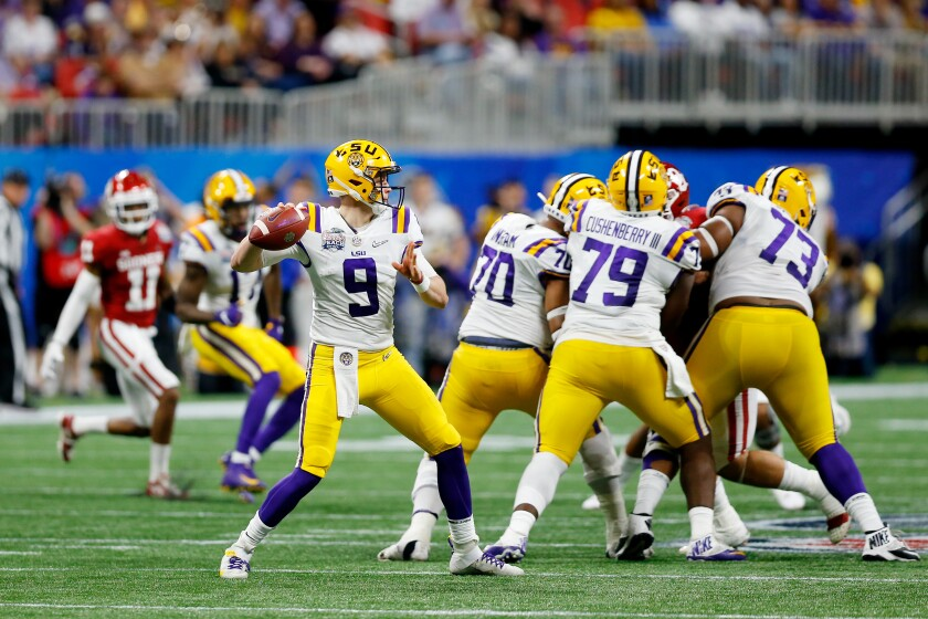 LSU quarterback Joe Burrow looks to pass against Oklahoma in the Peach Bowl on Saturday in Atlanta.