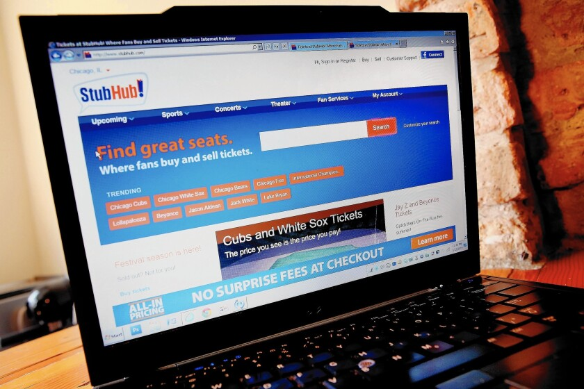 StubHub has a confused response to its confusing Web page - Los Angeles  Times