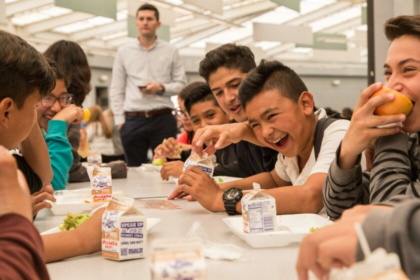 Students yukked it up last week after a classmate spilled his milk during a California Thursdays lunch at San Ysidro Middle School.