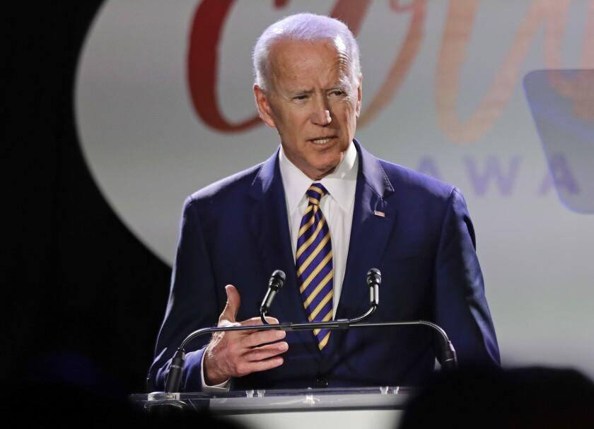 Former Vice President Joe Biden speaks at the Biden Courage Awards on March 26, 2019, in New York.