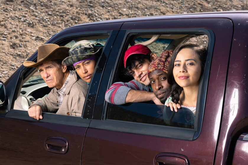"""San Diego Repertory Theatre's """"Mother Road"""" cast in a car together"""