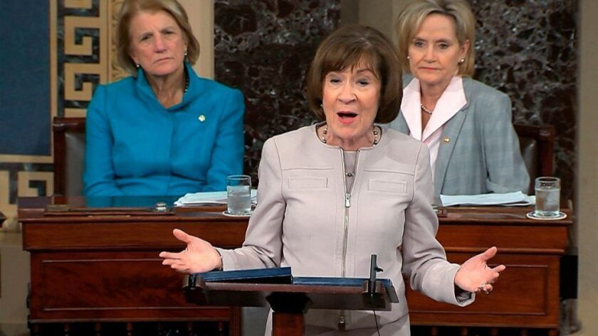 Sen. Susan Collins (R-Maine) speaks on Friday to the Senate about her decision to vote for Brett Kavanaugh's confirmation to the Supreme Court.