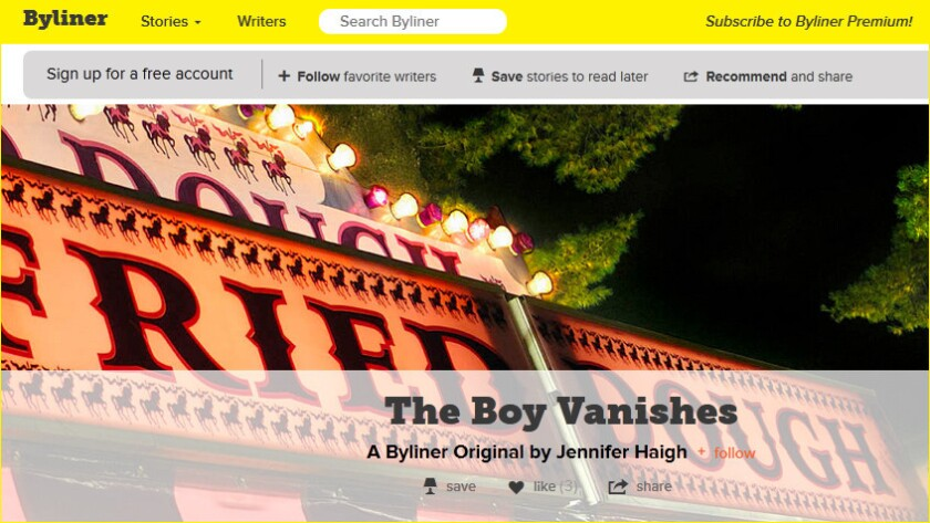 """The Byliner story """"The Boy Vanishes"""" by Jennifer Haigh, a finalist for the 2013 National Magazine Award"""