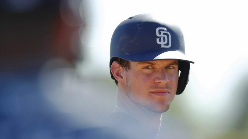San Diego Padres infielder Wil Myers looks on during a Spring Training practice in Peoria, Ariz. (K.C. Alfred)
