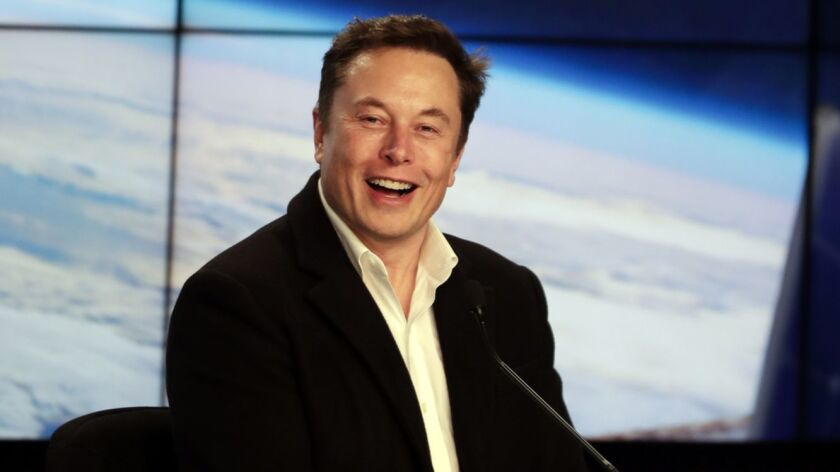 Elon Musk, CEO of Tesla and SpaceX, during a news conference at the Kennedy Space Center in Cape Canaveral, Fla., in March.