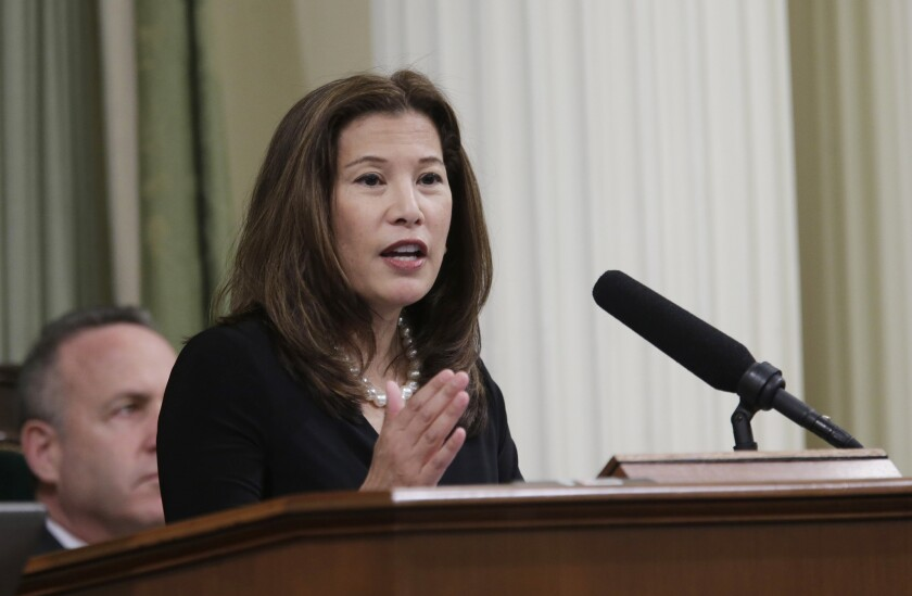 California Supreme Court Chief Justice Tani Cantil-Sakauye gives her State of the Judiciary Address before a joint session of the Legislature at the Capitol in Sacramento in 2014.