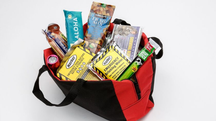 LOS ANGELES - CA - SEPTEMBER 15, 2015 - A bag of emergency supplies is one of the essential items fo