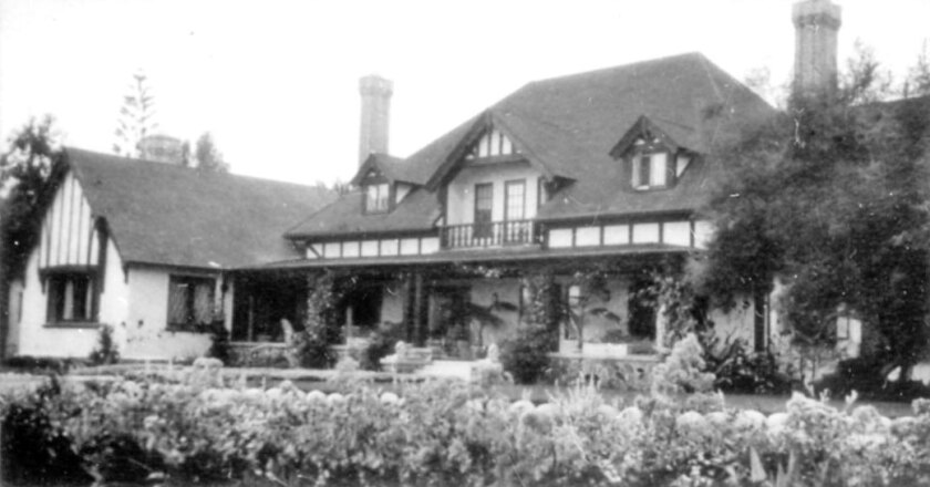 Braemar, the Scripps family home. The dining room at left is now Rose Creek Cottage on Garnet Avenue.