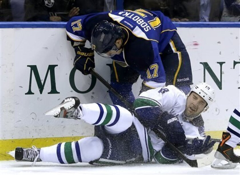 Vancouver Canucks' Cam Barker, bottom, and St. Louis Blues' Vladimir Sobotka, of the Czech Republic, get tangled up along the boards during the second period of an NHL hockey game Tuesday, April 16, 2013, in St. Louis. (AP Photo/Jeff Roberson)