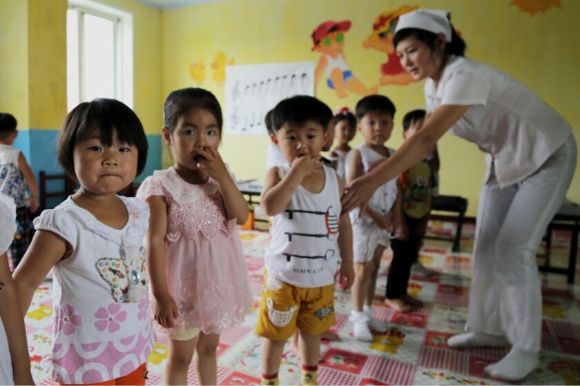 Children in the Unryul County Nursery, Unryul County, DPR Korea. (Photo: OCHA/ Anthony Burke)