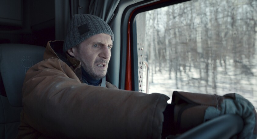 """This image released by Netflix shows Liam Neeson in a scene from """"The Ice Road."""" (Netflix via AP)"""