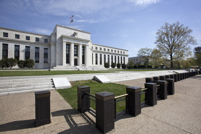The Federal Reserve in Washington. Discouraging economic data this week has increased expectations that the Fed will cut interest rates at the end of October.