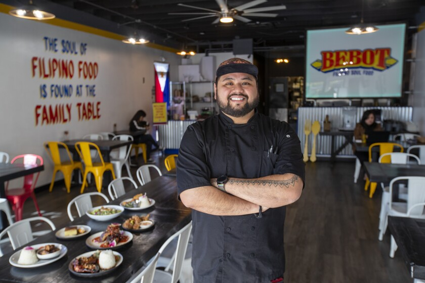 Executive chef/owner AC Boral at his Bebot Filipino Soul Food in Long Beach.