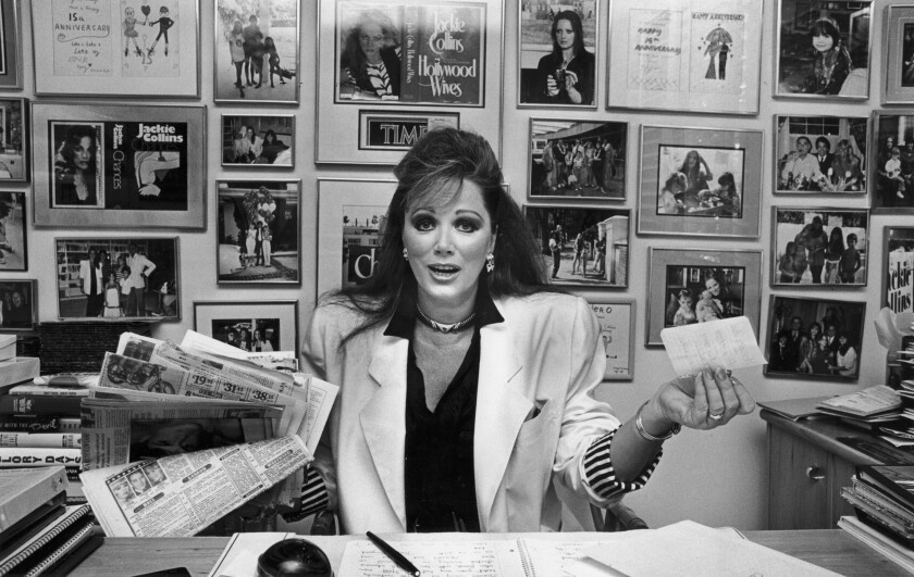 June 23, 1987: Author Jackie Collins in her Beverly Hills home.