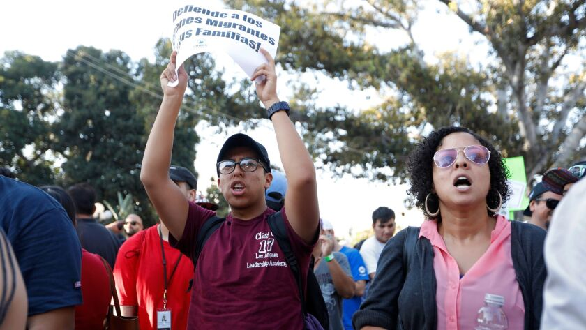 Bryan Peña, 18, of Los Angeles, a freshman at Cal State L.A., and his former teacher Peta Lindsay of