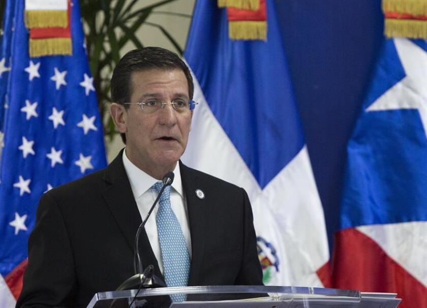 El secretario de Estado de Puerto Rico, Luis Gerardo Rivera Marín, habla durante una conferencia de prensa. EFE/Archivo