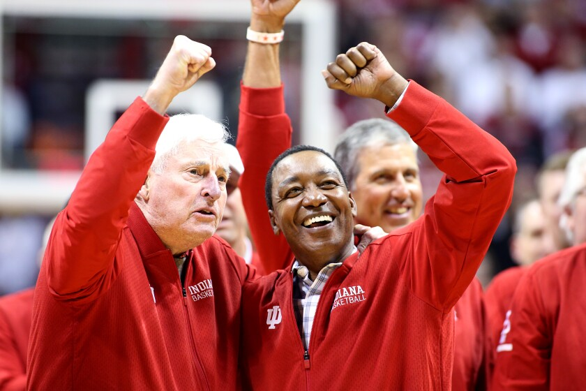 Former Indiana coach Bob Knight and former Indiana star Isiah Thomas during a game against Purdue on Feb. 8.