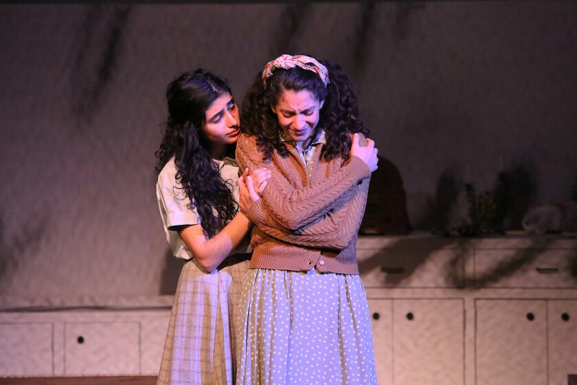 "Ava Lalezarzadeh, left, and Marnina Schon costar in ""Anne, A New Play"" at the Museum of Tolerance in Los Angeles."