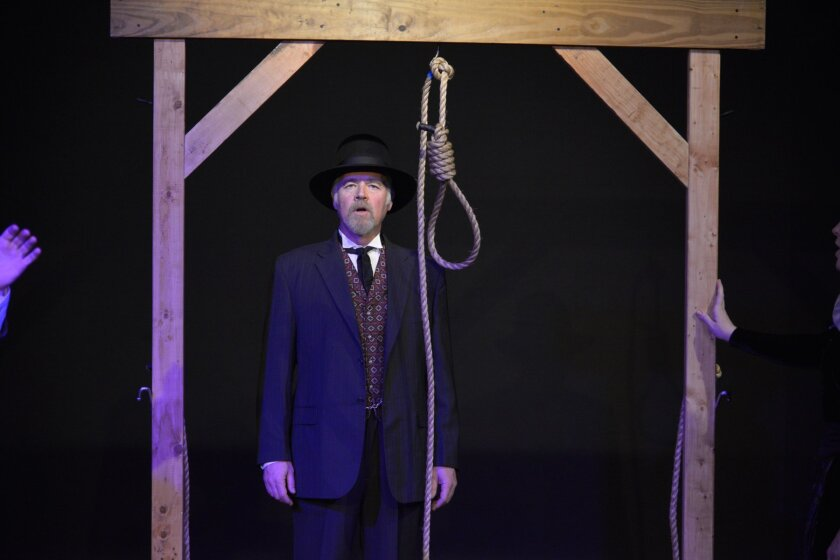 Dennis Holland portrays hangman William Maledon in the musical 'Rope,' by La Jolla resident Mark Sickman, as staged in February during the Venus Theater Festival in New York City.