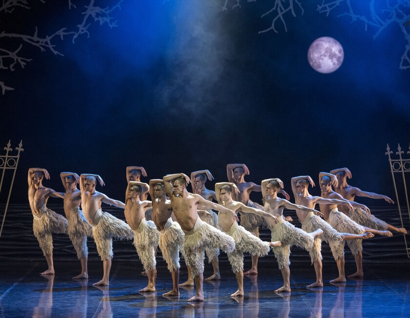 The all-male swan corps in the production at Ahmanson Theatre through Jan. 5.