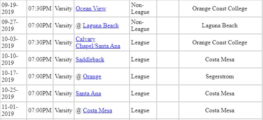 Estancia High School Football Fall Schedule 2019