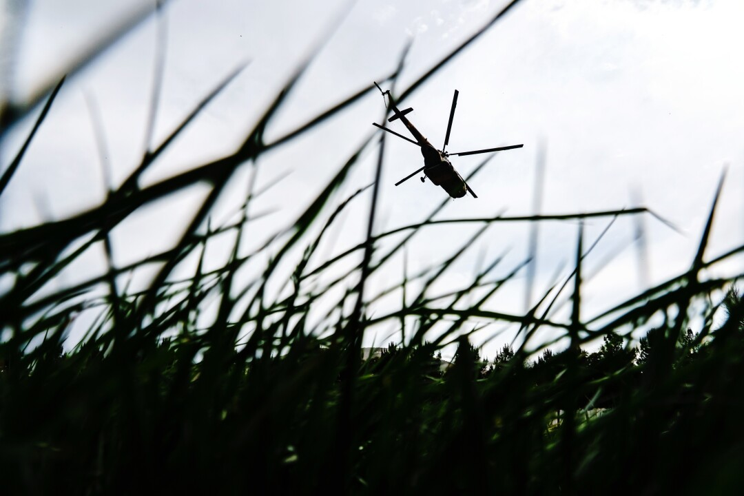 A helicopter is seen through blades of grass.