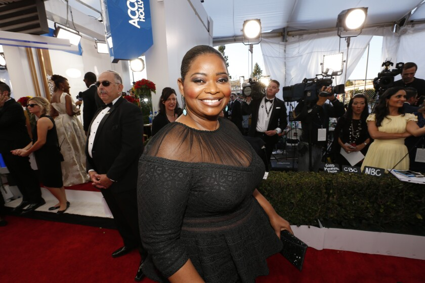 Academy Award nominee Octavia Spencer appears on the red carpet at the Screen Actors Guild Awards.