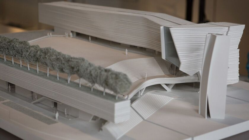 A model of the design for the Orange County Museum of Art's new home at Segerstrom Center for the Arts in Costa Mesa. OCMA is opening a temporary facility in the South Coast Village area in Santa Ana while it plans and builds its new space.