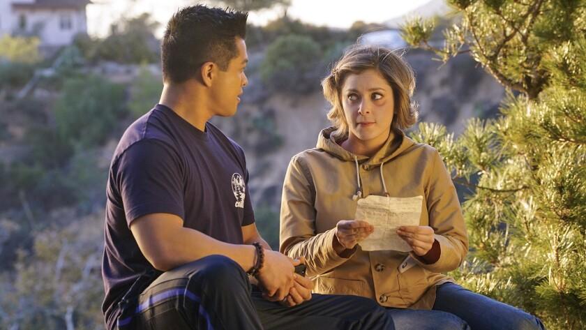 """Vincent Rodriguez III and Rachel Bloom in """"Crazy Ex-Girlfriend"""" on KTLA."""