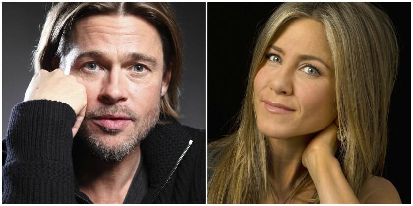 Actors Brad Pitt and Jennifer Aniston.