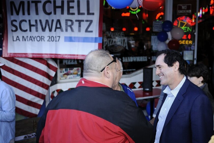 L.A. mayoral candidate Mitchell Schwartz talks to supporters at his campaign kickoff.