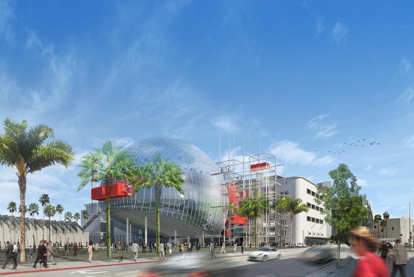 The current architectural rendering for the Academy Museum of Motion Pictures.