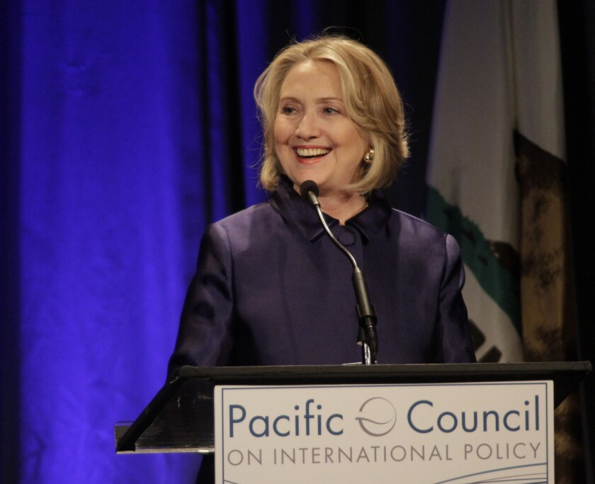 The former secretary of State, shown at a recent appearance in Beverly Hills, was the subject of a pair of informational events Monday in the Los Angeles area by the super PAC Ready for Hillary.