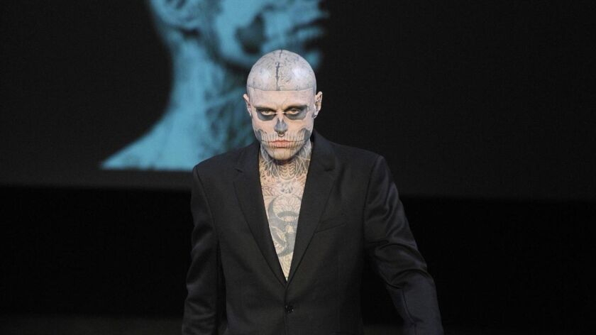 A model on the runway at Mugler's fall 2011 menswear show at Garage Turenne.