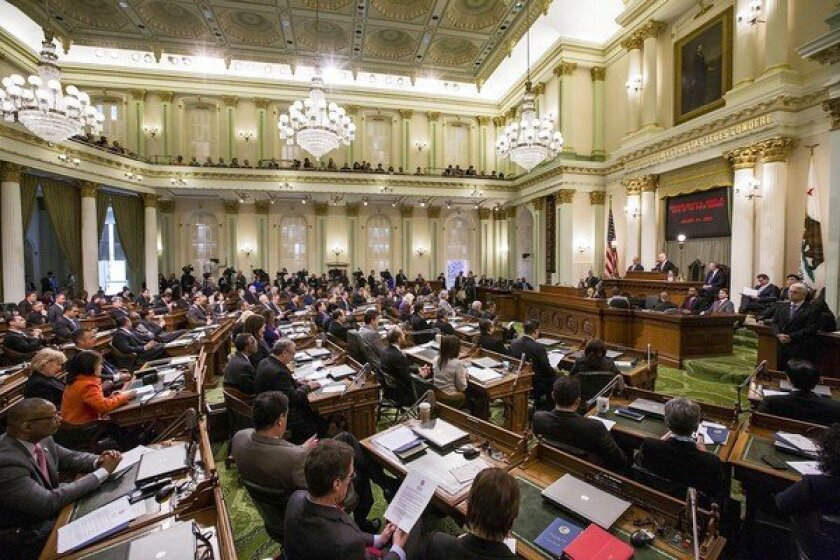 Gov. Jerry Brown gives his State of the State address in Sacramento on Jan. 24. Local governments' spending on advocacy in the Capitol has surged in recent years, topping $96 million during the two-year legislative session that ended last fall — an increase of nearly 50% from a decade ago.