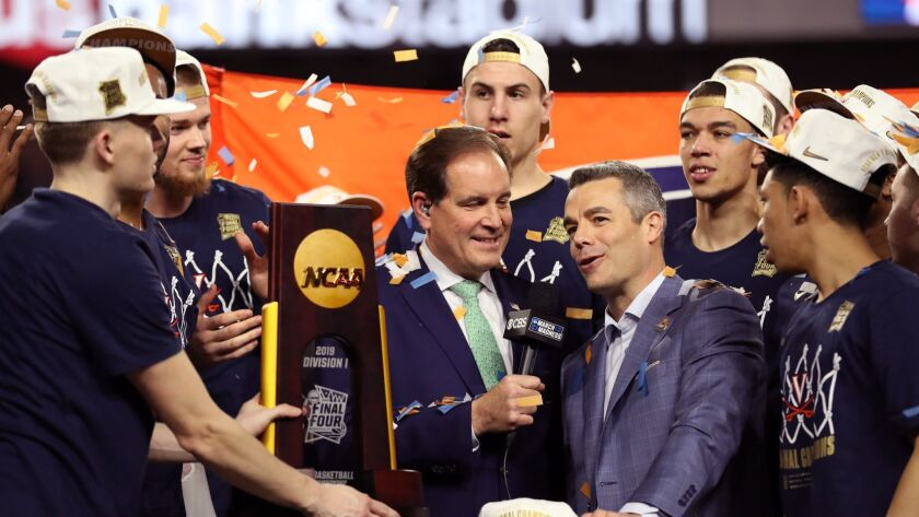 Head coach Tony Bennett of the Virginia Cavaliers is interviewed by Jim Nantz after Virginia's 85-77 victory over the Texas Tech Red Raiders to win the 2019 NCAA men's National Championship at U.S. Bank Stadium on April 08, 2019 in Minneapolis.