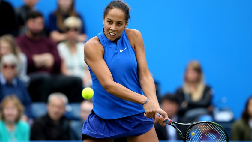 Madison Keys plays a backhanded shot during her semifinal victory over Carla Suarez Navarro on Saturday.