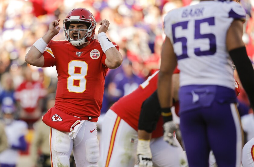 Kansas City Chiefs quarterback Matt Moore signals a play to the offense during a game against the Minnesota Vikings on Nov. 3 at Arrowhead Stadium.