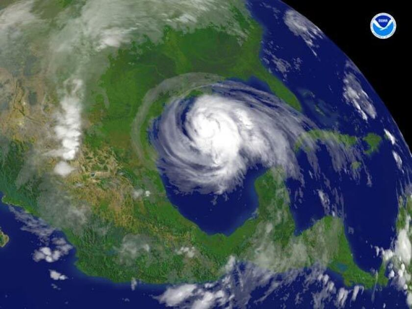 A satellite photo shows the cloud swirl of Hurricane Ike approaching Houston in 2008.