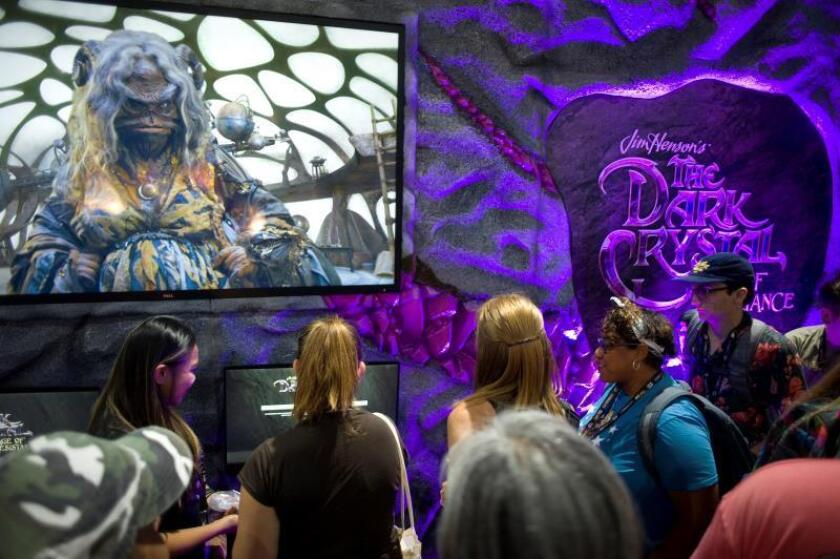 People wait in line to enter a display booth for the Netflix series 'The Dark Crystal' during the second day of Comic Con International 2019 in San Diego, California, USA, 19 July 2019. EFE/EPA/David Maung