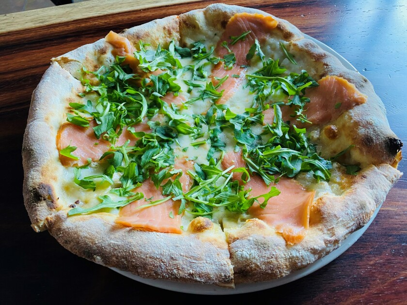 A pizza at La Taverna, an Italian restaurant that opened in late February in Hillcrest.