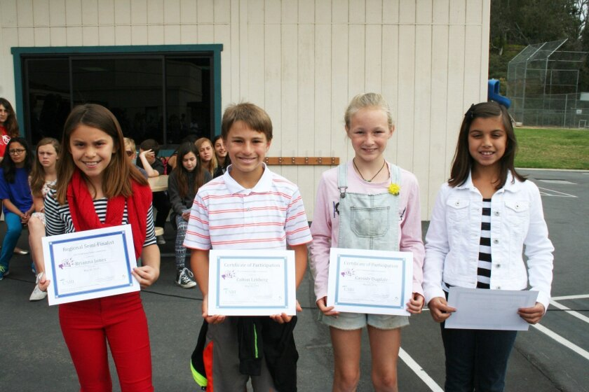 Brianna Jones, Colton Lehberg, Cassidy Dugdale and Claire Bucher all submitted videos and were honored at an assembly. For photos online, visit www.rsfreview.com.