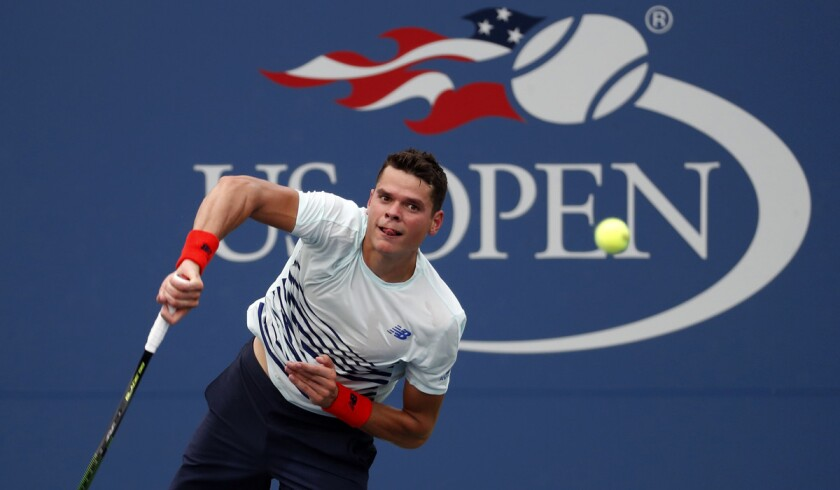Milos Raonic serves during the second round of the U.S. Open Wednesday.